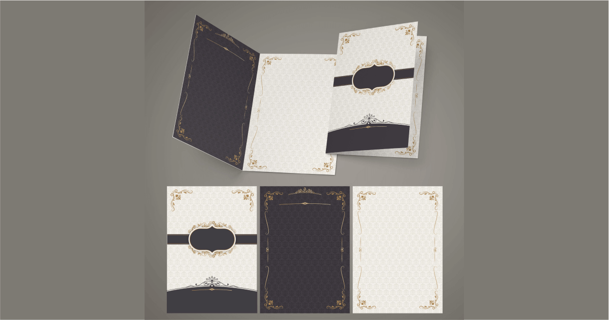 desain undangan pernikahan elegan coklat elegan mewah emas