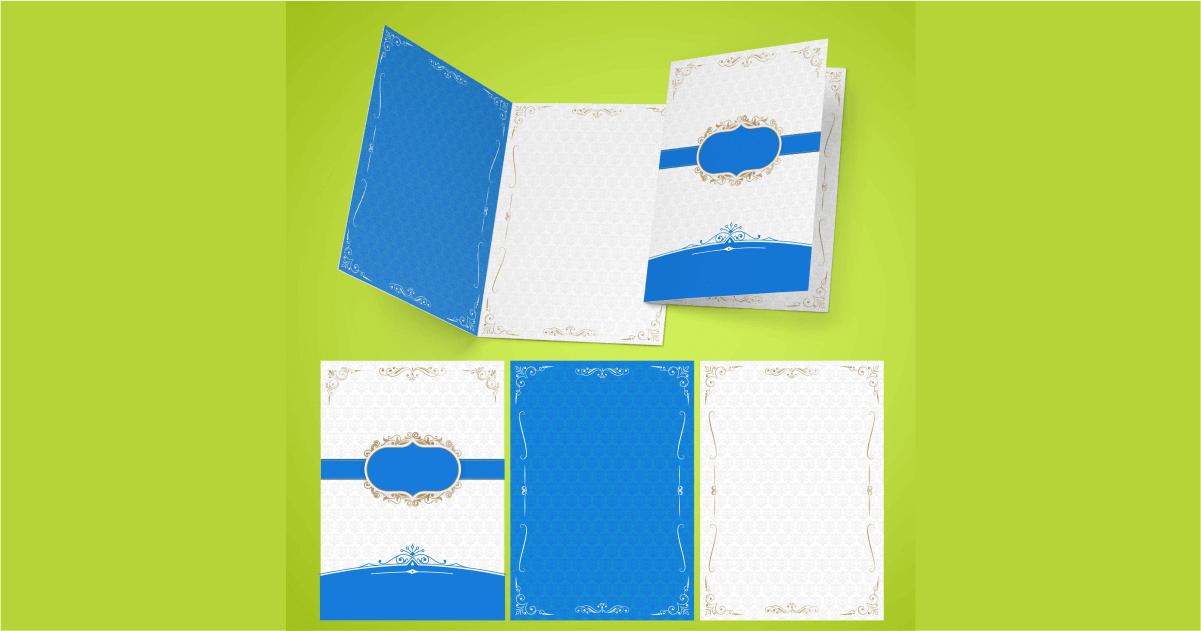 desain undangan pernikahan elegan biru menarik
