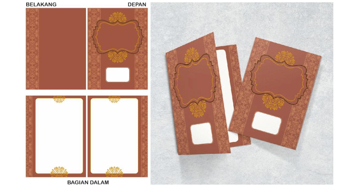 desain undangan pernikahan elegan emas