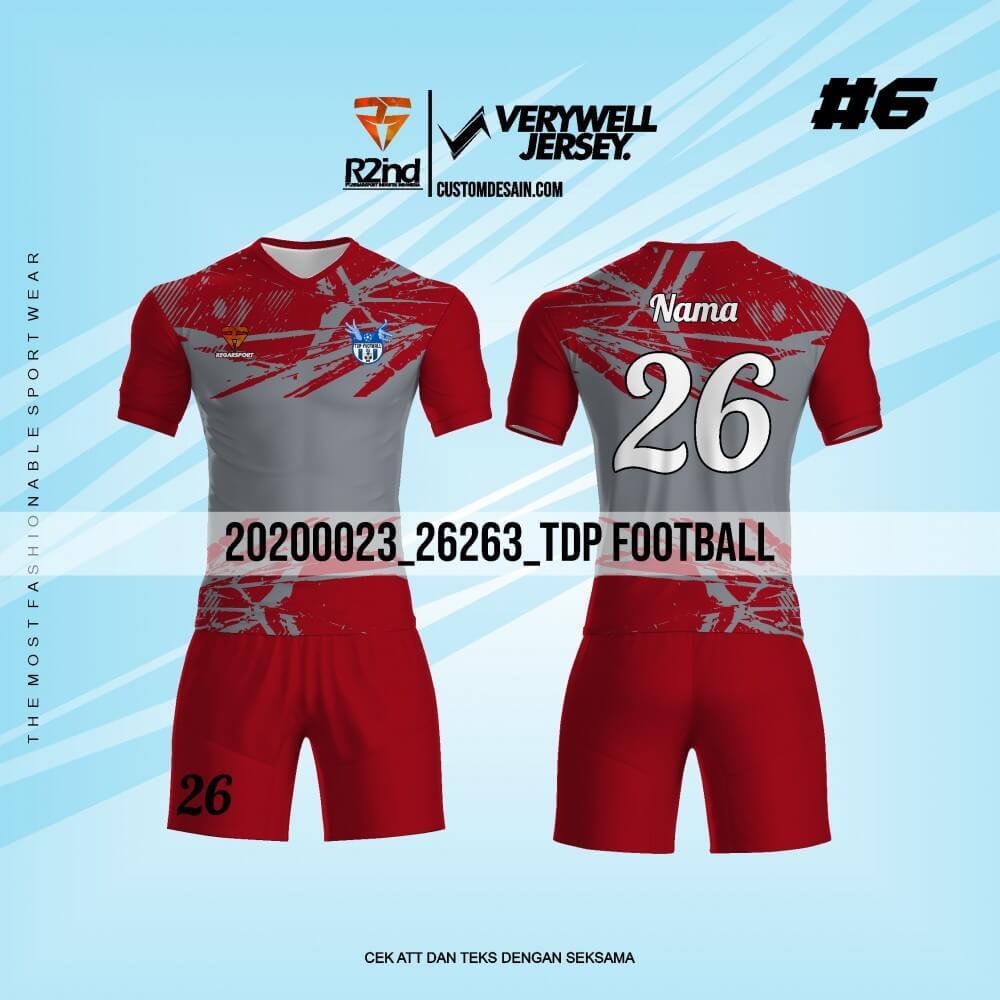 kostum jersey futsal merah