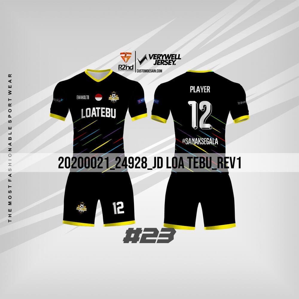 desain jersey futsal hitam elegan