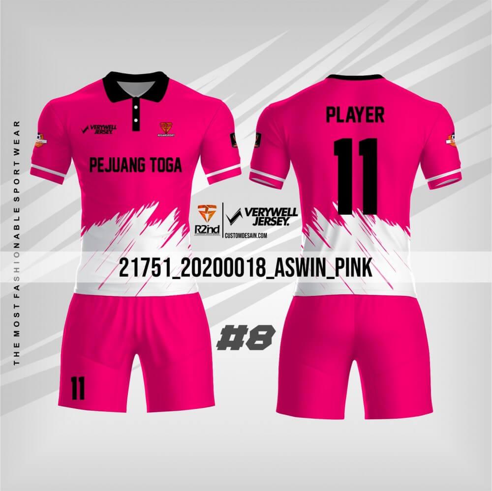 desain kaos futsal putih pink